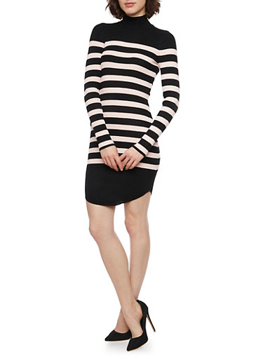 Striped Sweater Dress in Ribbed Knit,PINK,large