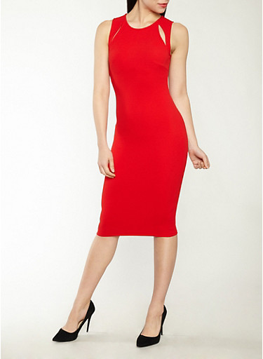 Midi Bodycon Dress with Slit Detail,RED,large