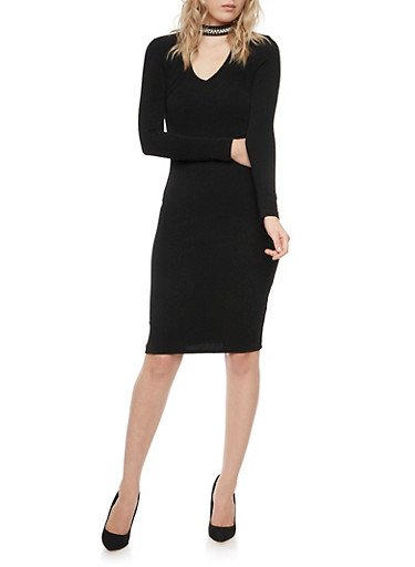 Long Sleeve Bodycon Dress with Beaded Choker Collar,BLACK,large