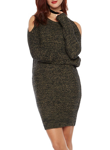 Cold Shoulder Sweater Dress,SAND,large
