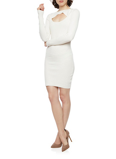 Rib Knit Long Sleeve Bodycon Dress with Front Keyhole,IVORY,large