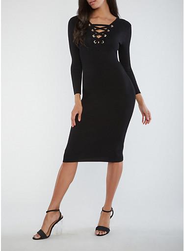 Ribbed Knit Lace Up Midi Dress,BLACK,large