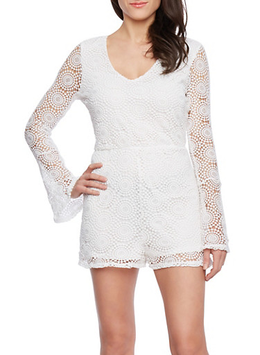 Crochet Romper with Long Bell Sleeves and Sheer Back,WHITE,large
