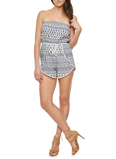 Printed Strapless Romper with Braided Belt,NAVY,large