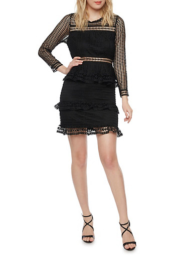 Long Sleeve Crocheted Mini Dress with Tiered Ruffles,BLACK,large