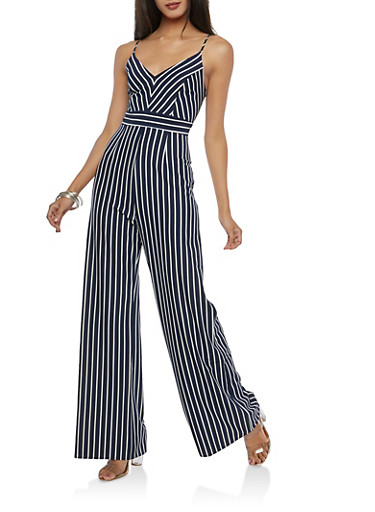 Striped Palazzo Jumpsuit,NAVY/WHITE,large