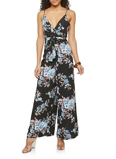 Sleeveless Floral Print Jumpsuit,BLACK,large
