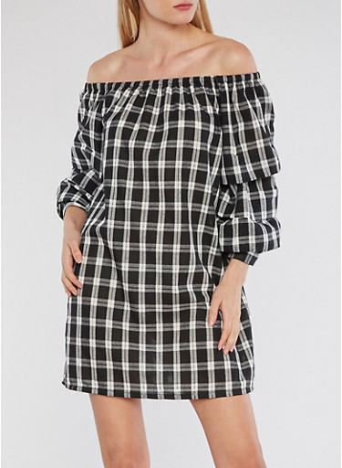 Plaid Off the Shoulder Dress,BLACK/WHITE,large