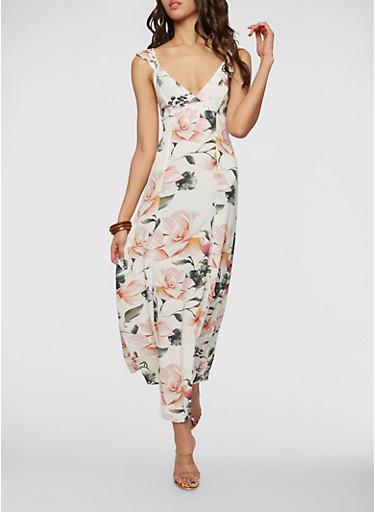Floral Tie Back Maxi Dress,IVORY,large