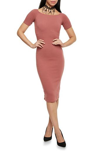 Soft Knit Off the Shoulder Midi T Shirt Dress,MAUVE,large