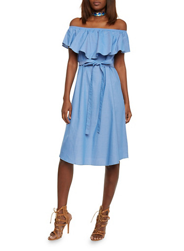 Ruffled Off the Shoulder Chambray Dress with Waist Tie,BLUE,large