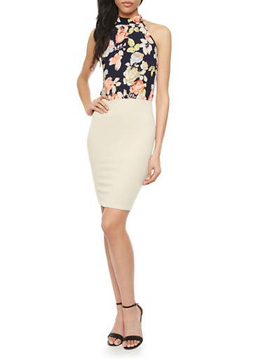 Bodycon Halter Dress with Mock Neck and Floral Print Bodice,NATURAL/BLACK,large