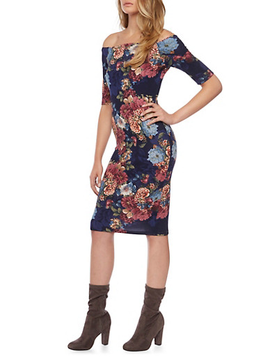 Off the Shoulder Dress with Floral Print,NAVY,large