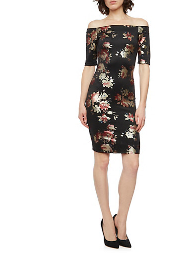 Off the Shoulder Dress with Floral Print,RED,large