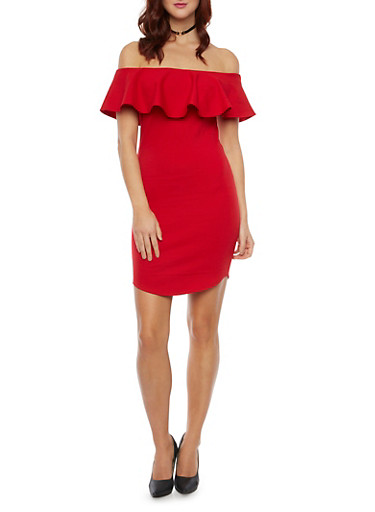 Off The Shoulder Bodycon Dress with Ruffle Neck,RED,large