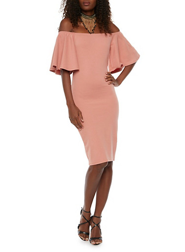 Off the Shoulder Dress with Bell Sleeves,PEACH,large
