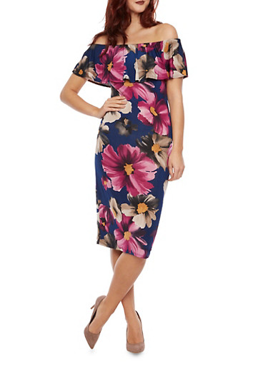 Off the Shoulder Midi Dress with Floral Print,PURPLE,large