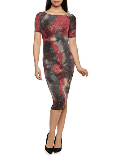 Galaxy Print Midi Dress with Shimmer Knit,BURGUNDY,large