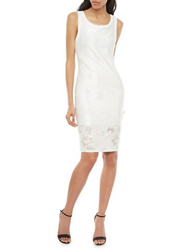 Sleeveless Floral Patterned Lace Front Midi Dress,IVORY,large