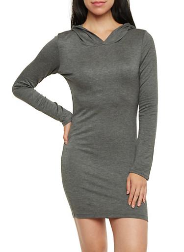 Hooded Soft Knit T Shirt Dress,CHARCOAL,large