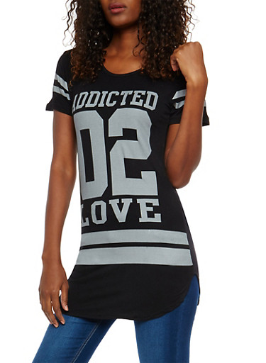 Addicted 02 Love Graphic Tunic Top,BLACK,large