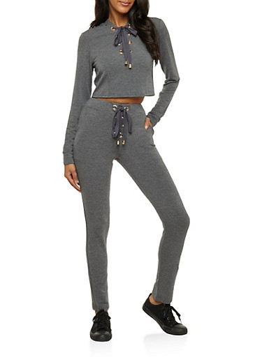 Lace Up Cropped Hoodie and Joggers Set,CHARCOAL,large