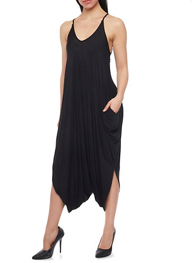 Solid Spaghetti Strap Gaucho Jumpsuit,BLACK,large
