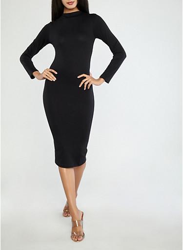 Long Sleeve Midi Dress,BLACK,large