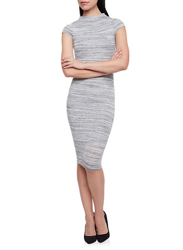 Bodycon Dress in Space Dye Knit,HEATHER,large