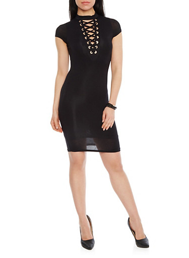 Plunging Lace Up V Neck Mini Dress,BLACK,large
