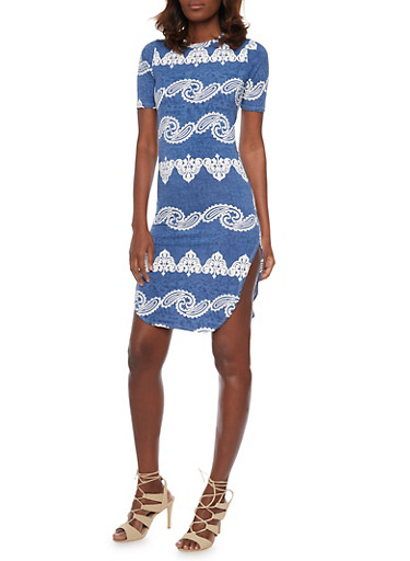 Printed Denim T Shirt Dress with Rounded Hem,BLUE,large