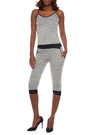 Marled Knit Capri Jumpsuit,HEATHER,large