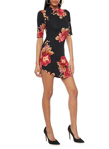 Floral Mock Neck Shirttail Dress,BLACK,large