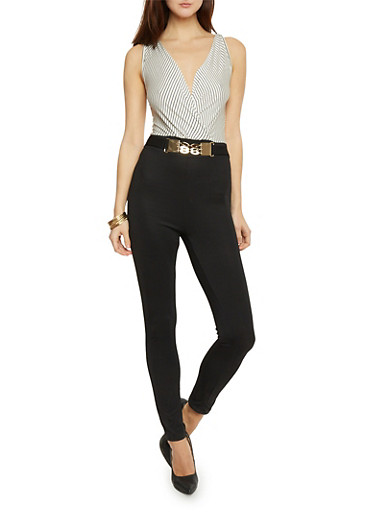 Striped Upperbody Jumpsuit with Chain Belt Accent,BLACK,large