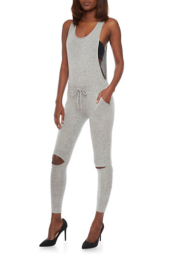 Sweat Knit Jumpsuit with Knee Slits,HEATHER,large
