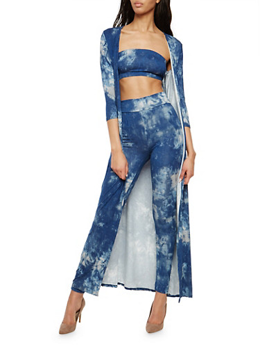 Tie Dye Duster with Leggings and Bandeau,DENIM,large