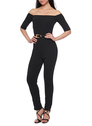 Off the Shoulder Jumpsuit with Belt,BLACK,large