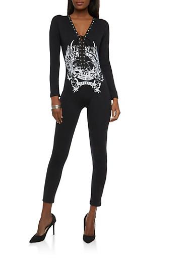 Graphic Lace Up Catsuit,BLACK,large