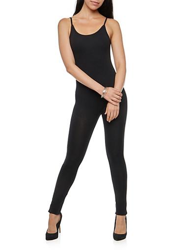 Basic Sleeveless Catsuit,BLACK,large