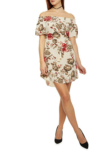 Floral Off The Shoulder Shift Dress with Tassel Tie at Waist,IVORY,large