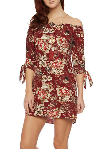 Floral Off The Shoulder Dress with Tie Sleeves,BURGUNDY,large