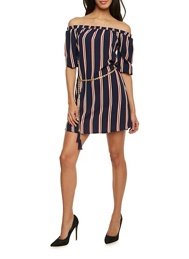 Off The Shoulder Striped Dress with Chain Belt,NAVY,large