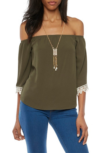 Off the Shoulder Top with Crochet Trim and Necklace,OLIVE,large