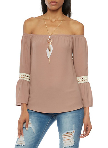 Off The Shoulder Top with Crochet Insets and Necklace,COCO,large