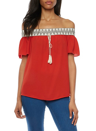 Off the Shoulder Top with Printed Trim,RUST,large