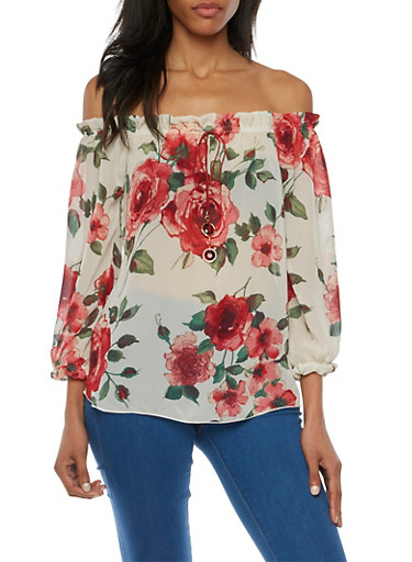Off the Shoulder Peasant Top in Floral Print,IVORY,large