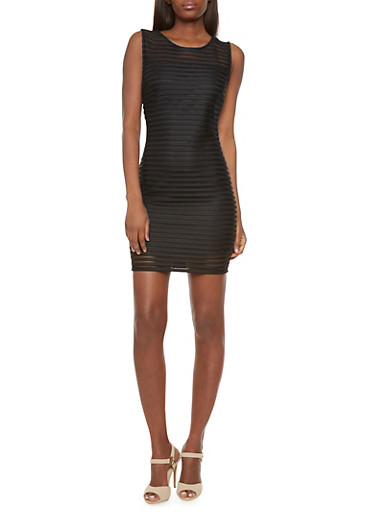 Shadow-Striped Bodycon Dress with Knit Back,BLACK,large