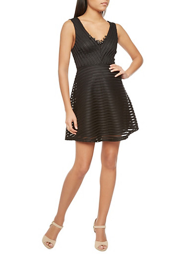 Shadow Stripe Skater Dress with Removable Necklace,BLACK,large