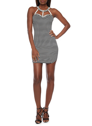 Striped Bodycon Mini Dress with Cutout Halter Neck,BLACK/WHITE,large