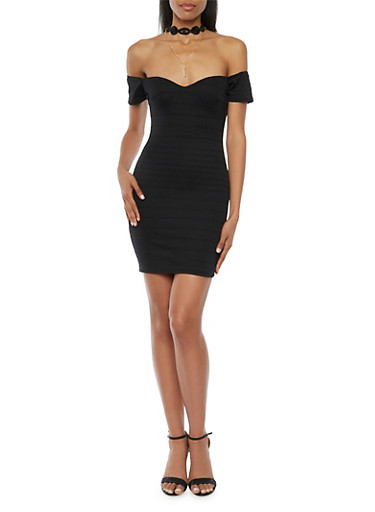 Bandage Dress with Choker Collar,BLACK,large